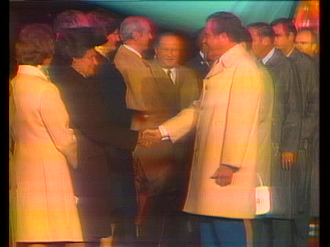 president richard nixon and first lady pat nixon shake hands with chancellor bruno kreisky as they exit air force one in salzburg, austria. - (war or terrorism or election or government or illness or news event or speech or politics or politician or conflict or military or extreme weather or business or economy) and not usa stock videos & royalty-free footage
