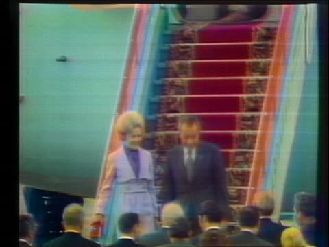 president richard nixon and first lady pat nixon step off a plane in moscow and are greeted by soviet leaders. - first lady stock videos & royalty-free footage
