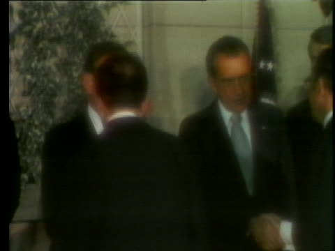 stockvideo's en b-roll-footage met us president richard nixon and secretary of state dr kissinger shake hands with leaders at the nato summit in brussels - (war or terrorism or election or government or illness or news event or speech or politics or politician or conflict or military or extreme weather or business or economy) and not usa