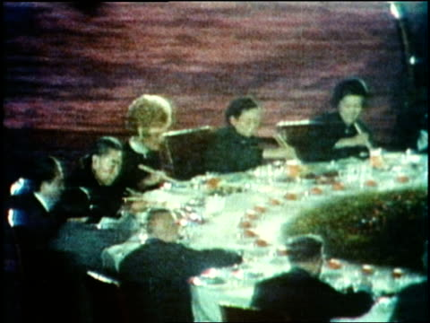 president richard nixon, chinese premier chou en lai and first lady pat nixon enjoy a banquet in china. - 1972 stock videos & royalty-free footage