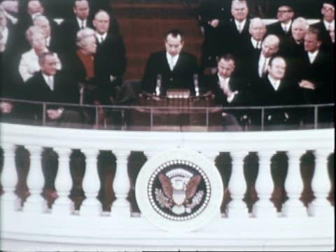 us president richard nixon delivering inaugural address nixon inauguration on january 20 1969 in washington dc - richard nixon stock videos & royalty-free footage