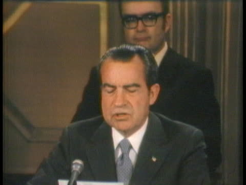 president richard nixon describes the agreement between the united states and canada to jointly clean up the great lakes. - united states and (politics or government) stock videos & royalty-free footage
