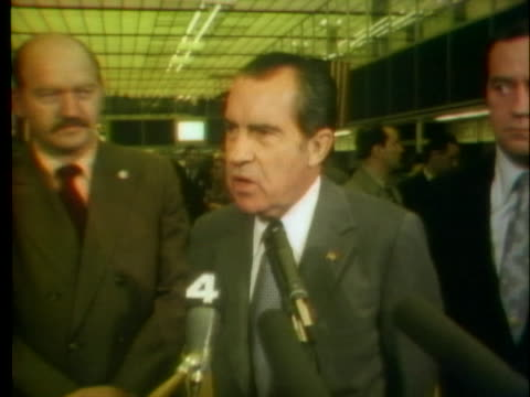 vídeos de stock, filmes e b-roll de president richard nixon discusses the importance of funding the fight against illegal drugs in 1972. - richard nixon
