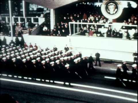 vídeos de stock, filmes e b-roll de us president richard nixon first lady pat nixon former first lady mamie eisenhower tricia nixon cox and julie nixon eisenhower watching inaugural... - tomada de posse