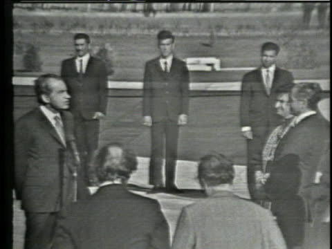 us president richard nixon gives a speech in front of the shah during a 1972 visit to tehran - us president stock videos & royalty-free footage