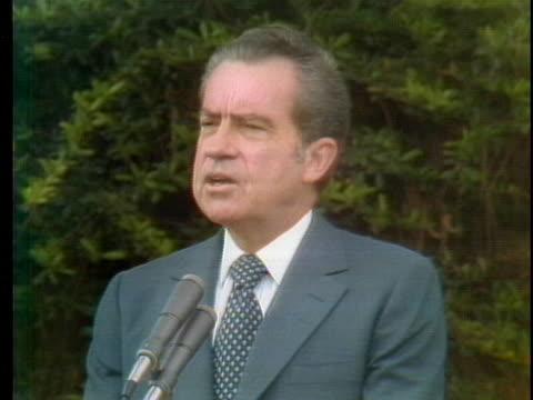 president richard nixon makes a speech after signing a peace treaty with the ussr's leonid brezhnev. - leonid brezhnev bildbanksvideor och videomaterial från bakom kulisserna