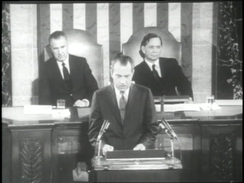 vídeos de stock e filmes b-roll de president richard nixon makes the state of the union speech to congress in 1969. - 1969