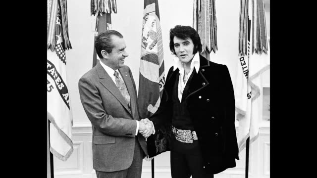 president richard nixon meets with elvis presley december 21 1970 at the white house - richard nixon stock videos & royalty-free footage