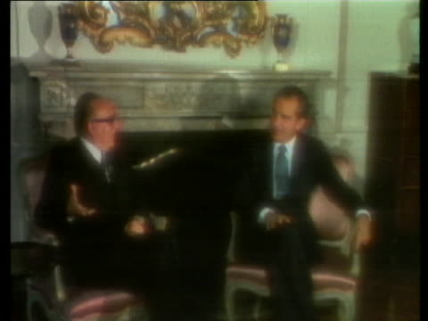 stockvideo's en b-roll-footage met us president richard nixon meets with italian prime minister mariano rumor - (war or terrorism or election or government or illness or news event or speech or politics or politician or conflict or military or extreme weather or business or economy) and not usa