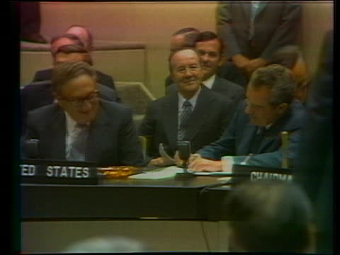 stockvideo's en b-roll-footage met us president richard nixon signs the declaration of principles at the nato summit in brussels with dr henry kissinger - business or economy or employment and labor or financial market or finance or agriculture
