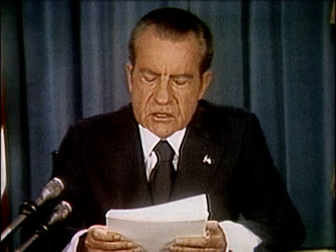 vídeos de stock e filmes b-roll de president richard nixon speaking about releasing the watergate tapes nixon releases watergate tapes part 5 of 10 on april 29 1974 in washington dc - 1974