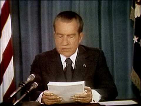 vídeos de stock e filmes b-roll de president richard nixon speaking about releasing the watergate tapes nixon releases watergate tapes part 2 of 10 on april 29 1974 in washington dc - 1974