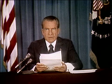 president richard nixon speaking about releasing the watergate tapes nixon releases watergate tapes part 6 of 10 on april 29 1974 in washington dc - watergate scandal stock videos & royalty-free footage