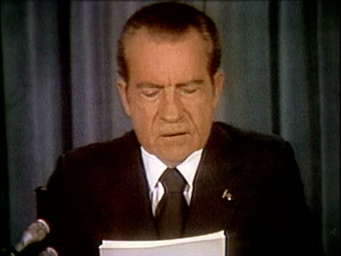 president richard nixon speaking about releasing the watergate tapes nixon releases watergate tapes part 1 of 10 on april 29 1974 in washington dc - 1974 stock-videos und b-roll-filmmaterial