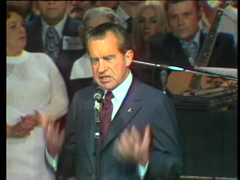 president richard nixon speaks at the grand ole opry in 1974 about country music and patriotism. - music or celebrities or fashion or film industry or film premiere or youth culture or novelty item or vacations stock videos & royalty-free footage