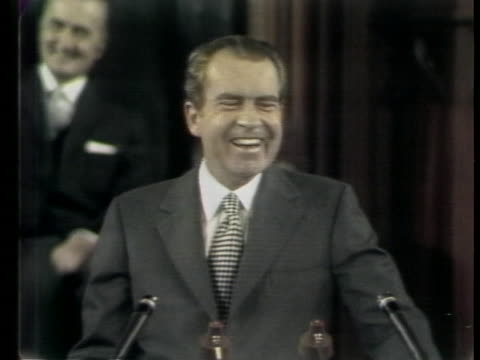 president richard nixon speaks haltingly in french as he addresses a joint session of the canadian parliament, and jokes about his lack of fluency in... - (war or terrorism or election or government or illness or news event or speech or politics or politician or conflict or military or extreme weather or business or economy) and not usa stock videos & royalty-free footage