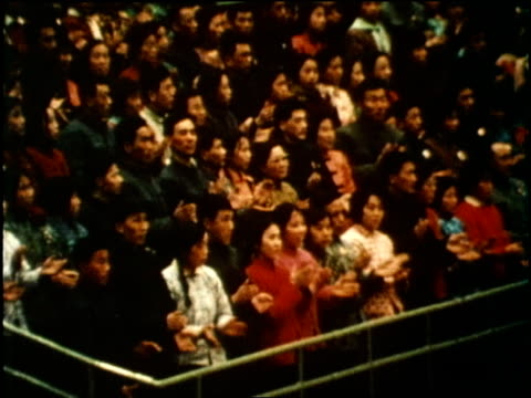 us president richard nixon watches a table tennis match in china - anno 1972 video stock e b–roll