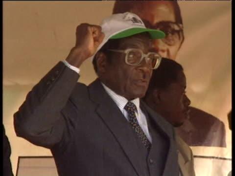 President Robert Mugabe at political rally 1990s