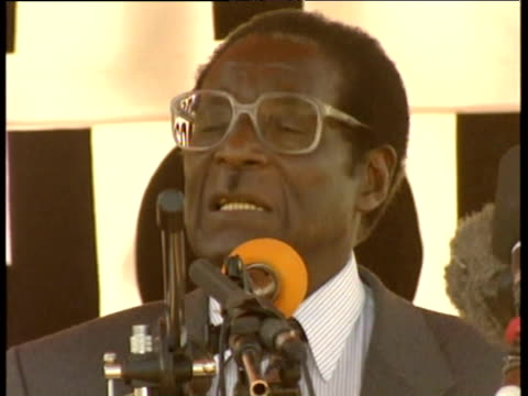 President Robert Mugabe at political rally Zimbabwe 1990s