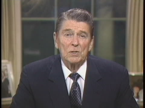 president ronald reagan addresses the nation and thanks the tower commission for their hard work. - united states and (politics or government) stock videos & royalty-free footage