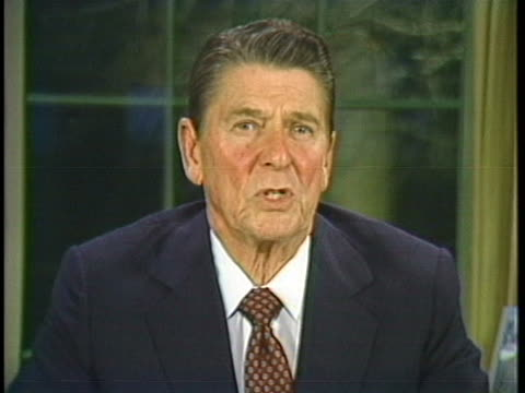 president ronald reagan addresses the nation regarding the support and future of national defense in march 1983. - 1983 stock videos & royalty-free footage