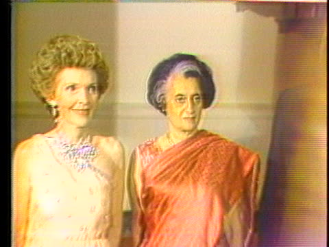 president ronald reagan and first lady nancy reagan welcome india's prime minister indira gandhi to the white house. - music or celebrities or fashion or film industry or film premiere or youth culture or novelty item or vacations stock videos & royalty-free footage