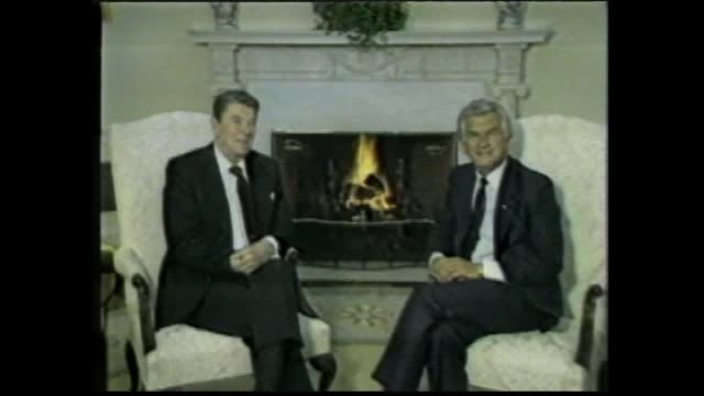 president ronald reagan and prime minister bob hawke sits on chairs in front of fire place photo call / reagan anzus is very much alive / reagan and... - bob hawke stock videos and b-roll footage