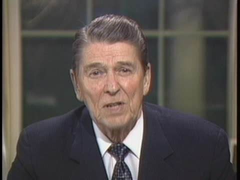 president ronald reagan announces his adoption of the tower report's model of how the national security council process and staff should work. - social services stock videos & royalty-free footage
