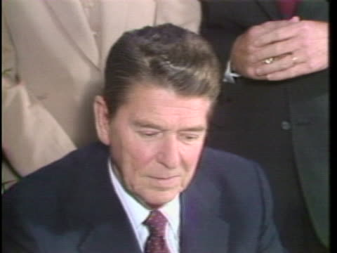 president ronald reagan comments on the word he kept on firing any air traffic controller that did not report to work within 48 hours of his initial... - flughafen washington ronald reagan national stock-videos und b-roll-filmmaterial