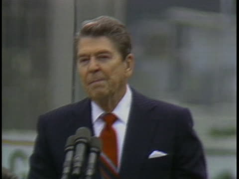 president ronald reagan pledges united states help and support to european nations. - 1987 個影片檔及 b 捲影像