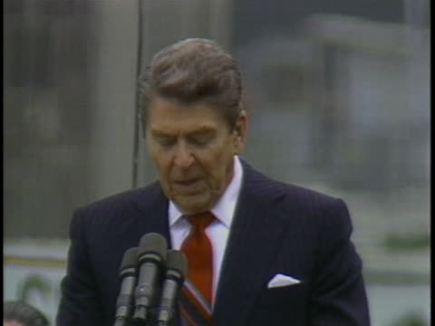 president ronald reagan pledges united states help and support to european nations. - 1987 stock videos & royalty-free footage