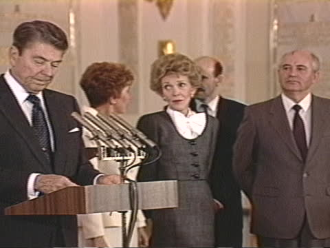 president ronald reagan says at the moscow summit that negotiators have produced agreements to reduce the risks of armed conflict between the united... - decline stock videos & royalty-free footage