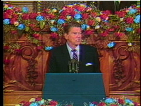 vídeos y material grabado en eventos de stock de president ronald reagan says the long journey is ending but has been fruitful in results, including the world leaders in the summit conference. - (war or terrorism or election or government or illness or news event or speech or politics or politician or conflict or military or extreme weather or business or economy) and not usa