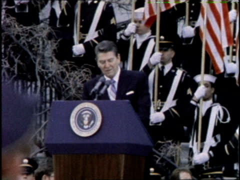 US President Ronald Reagan speaks during a ceremony honoring the freed victims of the Iran Hostage Crisis
