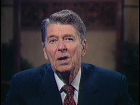 us president ronald reagan speaks of the need for freedom in shaping the world economy - business or economy or employment and labor or financial market or finance or agriculture stock-videos und b-roll-filmmaterial