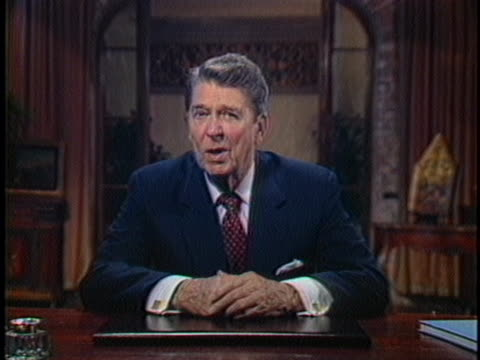 us president ronald reagan talks about freedom during an address broadcast from the venice economic summit - business or economy or employment and labor or financial market or finance or agriculture video stock e b–roll