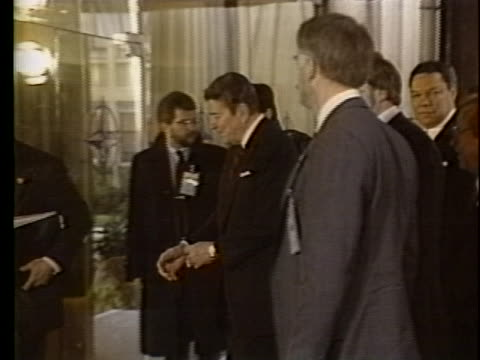 stockvideo's en b-roll-footage met us president ronald reagan white house chief of staff howard baker and national security advisor colin powell arrive in brussels belgium for meetings... - (war or terrorism or election or government or illness or news event or speech or politics or politician or conflict or military or extreme weather or business or economy) and not usa