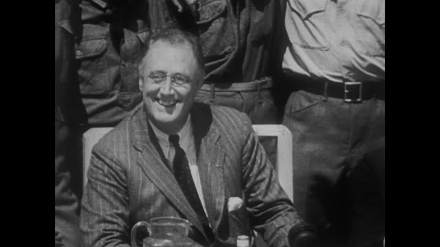president roosevelt makes his first visit to the civilian conservation corps camp in the shenandoah valley - civilian conservation corps stock-videos und b-roll-filmmaterial