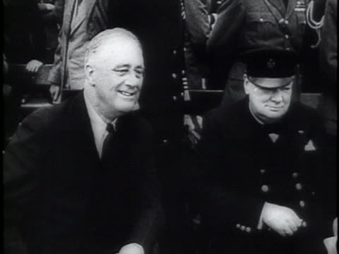 president roosevelt talks with prime minister churchill. - (war or terrorism or election or government or illness or news event or speech or politics or politician or conflict or military or extreme weather or business or economy) and not usa stock videos & royalty-free footage