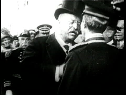 us president theodore roosevelt shakes hands with an official while visiting panama - theodore roosevelt us president stock videos & royalty-free footage