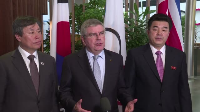 ioc president thomas bach confirms that south and north korea have proposed fielding unified teams for tokyo 2020 and would like to jointly organise... - summer olympic games stock videos and b-roll footage