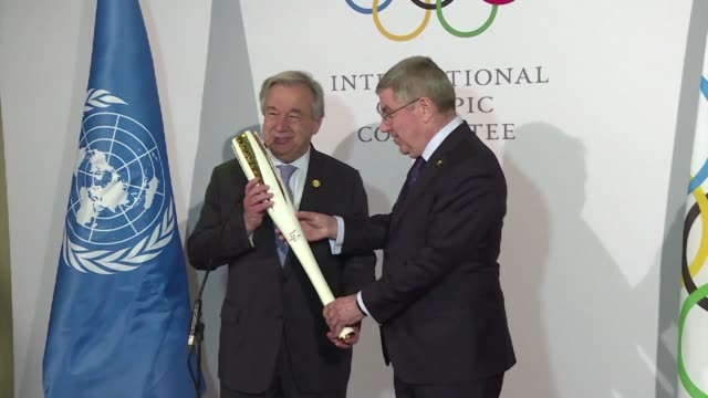 ioc president thomas bach meets un secretary general antonio guterres ahead of the pyeongchang winter olympics together emphasising the games message... - winter olympic games stock videos and b-roll footage