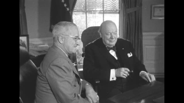 president truman and prime minster churchill discuss the stiuation in europe, the middle east and southeast asia. - united states and (politics or government) stock videos & royalty-free footage