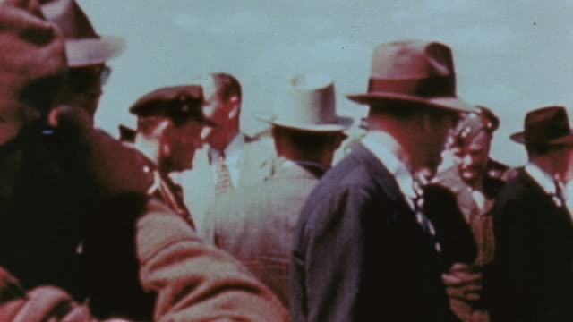 president truman exiting c54 skymaster at gatow greeting soviet military officers and boarding a waiting car / berlin germany - potsdam conference stock videos and b-roll footage