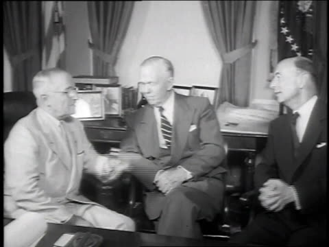 president truman general george c marshall and robert lovett sitting in office after marshall resigns and deputy secretary lovett is appointed to... - 1951 stock videos & royalty-free footage