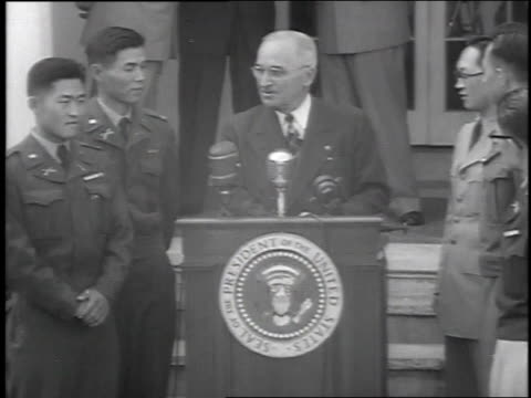 president truman welcoming south koreans to the white house / washington dc united states - 1951 stock videos & royalty-free footage