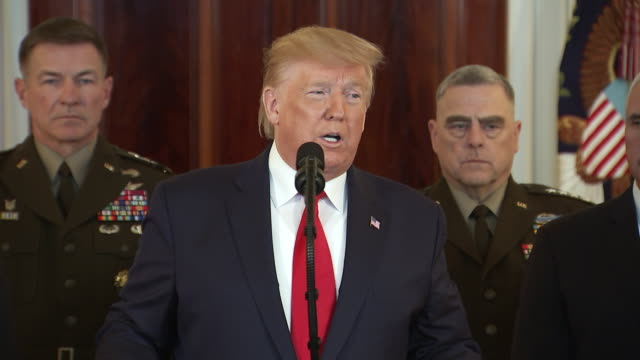 president trump addresses the nation on the attack by iran and states that he viciously wounded and murdered thousands of us troops including the... - war or terrorism or military stock-videos und b-roll-filmmaterial