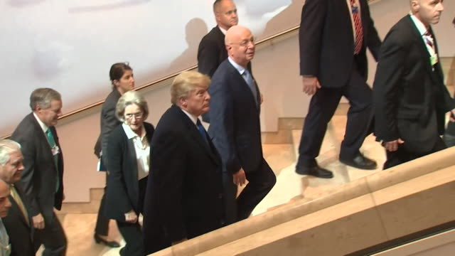 president trump arrives at the world economic forum in davos - politician stock videos & royalty-free footage