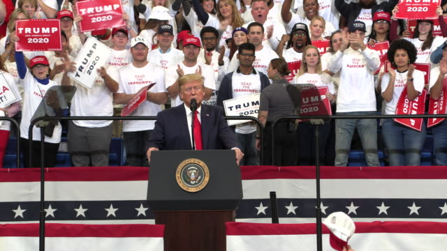vídeos de stock e filmes b-roll de president trump campaigns for kentucky republicans november 4 2019 the monstrous animal known as al baghdadi is dead and the man that took his place... - comício político