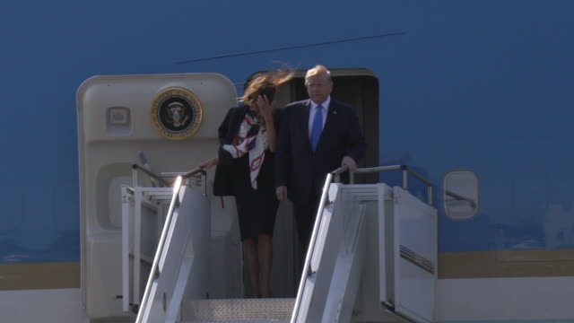 president trump first lady melania trump air force one arrival at stansted airport at donald trump uk visit on june 3 2019 in london united kingdom - melania trump stock-videos und b-roll-filmmaterial